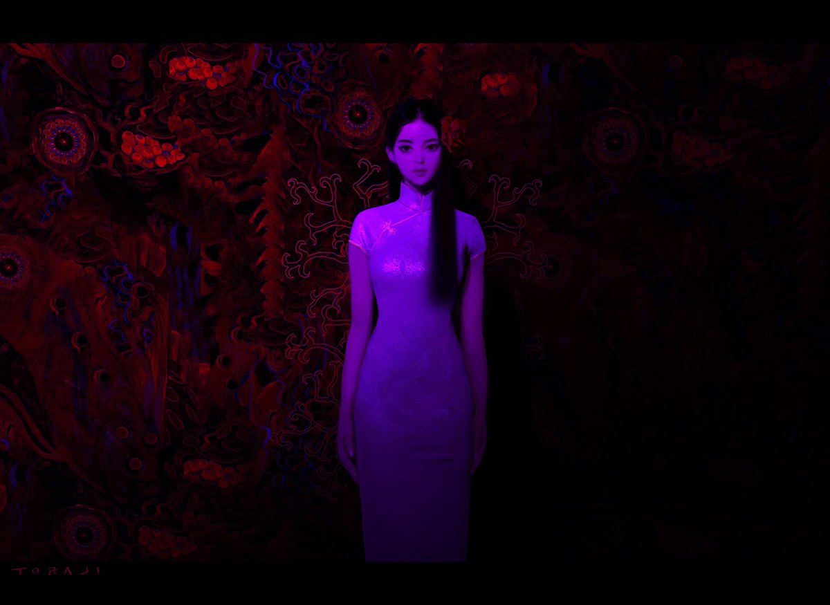 inspired by the lighting from Only God Forgives. 映画オンリーゴッドのライティングに触発されて描いた絵