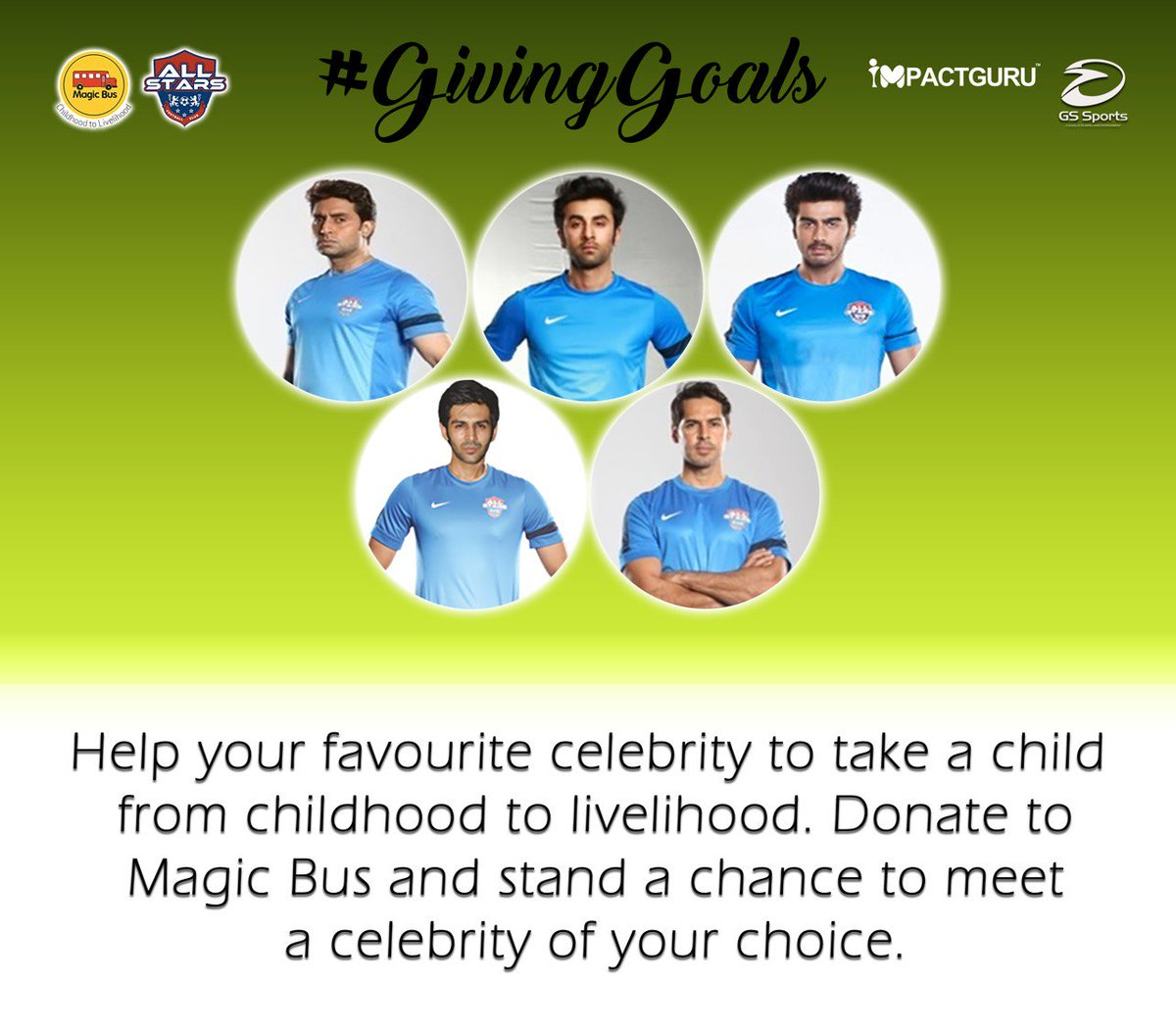 test Twitter Media - Get the opportunity to meet your favorite celebrity by being a part of the #GivingGoals campaign. Donate to Magic Bus.  https://t.co/fCAYT8OuyW  @AllstarsFC_PFH @ImpactGuru #magicbus #Football https://t.co/rEzq5c9Uhd