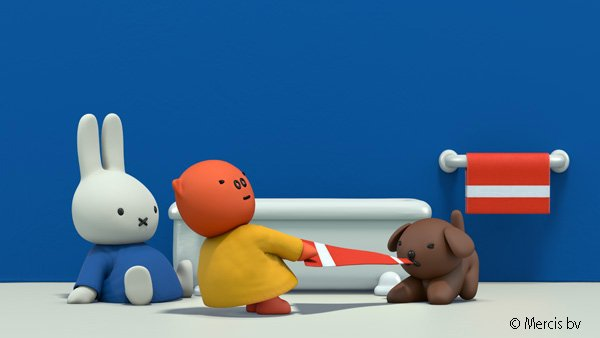 Give that back, Snuffy!  Watch Miffy's Adventures on Tiny Pop at 6am and 7:30pm every day.
