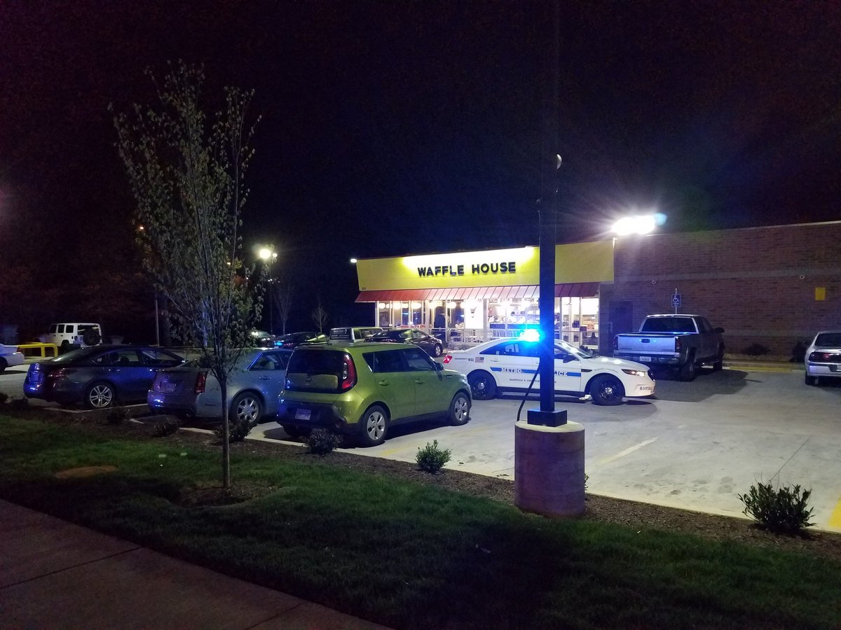 #BREAKING: 3 people fatally shot & 4 others wounded at Nashville, Tenn. Waffle House—3571 Murfreesboro Pike.  Gunman opened fire @ 3:25 a.m. A patron wrestled away the gunman's rifle. He was nude & fled on foot. He is a white man with short hair - MNPD