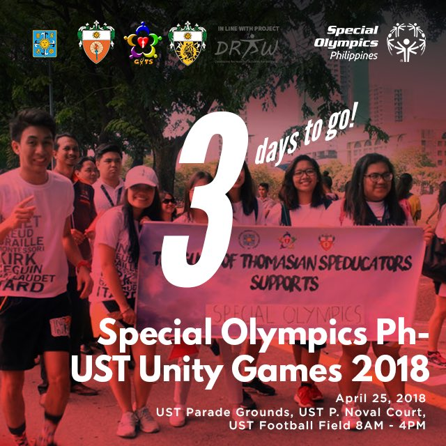 We're back for another year of athleticism, sportsmanship, and inclusion! Witness our athletes &amp; volunteers come together and #ChooseToInclude in 3 DAYS at the Special Olympics Philippines - UST Unity Games 2018! See you there!  #SpecialOlympics50 #USTUnityGames2018  #PlayUnified<br>http://pic.twitter.com/PXwGR3MPZY