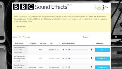 いっぱいある!  BBCが1万6000種類以上の「効果音」を無料公開 非営利目的での利用が可能