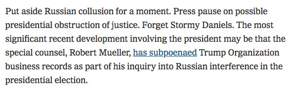 Also, Simpson NYT piece -- put aside collusion, put aside obstruction --- good example of Trump-Russia investigation moving into 'by any means necessary' phase. https://t.co/J3VtjTIJXe