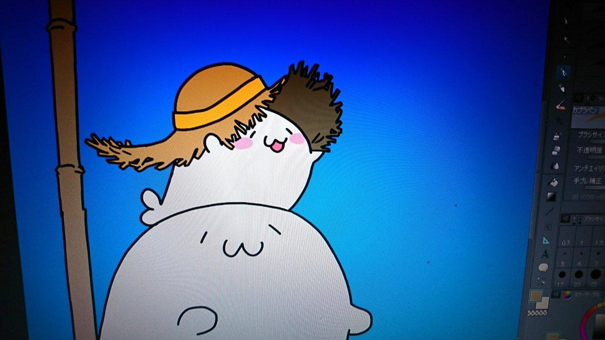 ついったで全体公開はできないんだけど いま描いてるでっかい麦わら帽子かぶってるこざらしがかわいくできたから見て(直球) #あざらしさん
