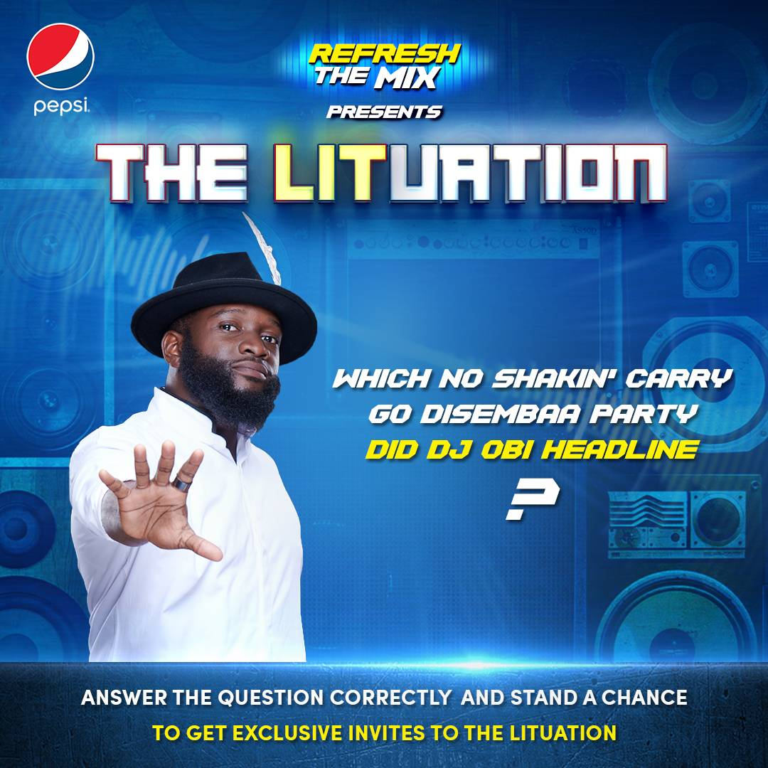 How well do you know @djobiajent ? Answer correctly and you could be among the 25 fans that get will invites to party with @djobiajent #PepsiLituation #RefreshTheMix <br>http://pic.twitter.com/mCzPKIE5f6