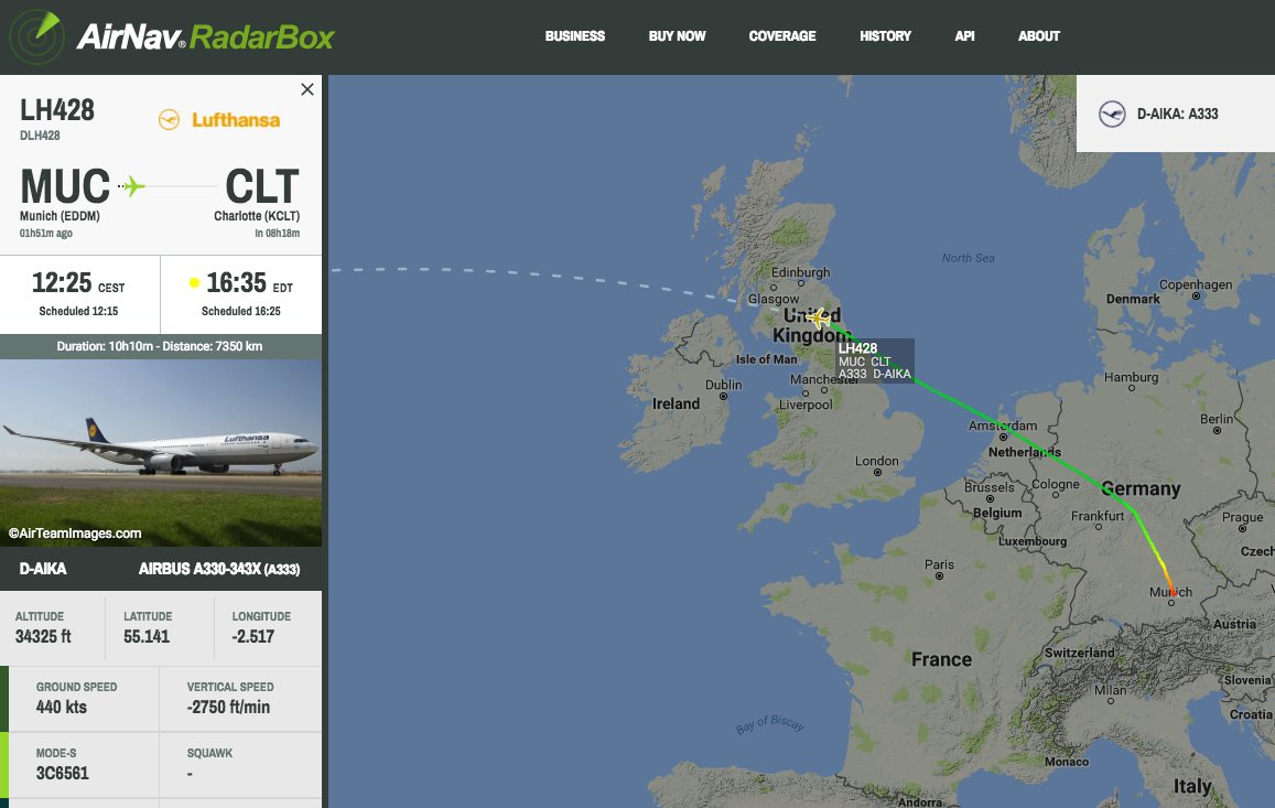Lufthansa #LH428 from Munich to Charlotte is declaring an emergency over UK #radarbox https://t.co/6jJSFQNWt1
