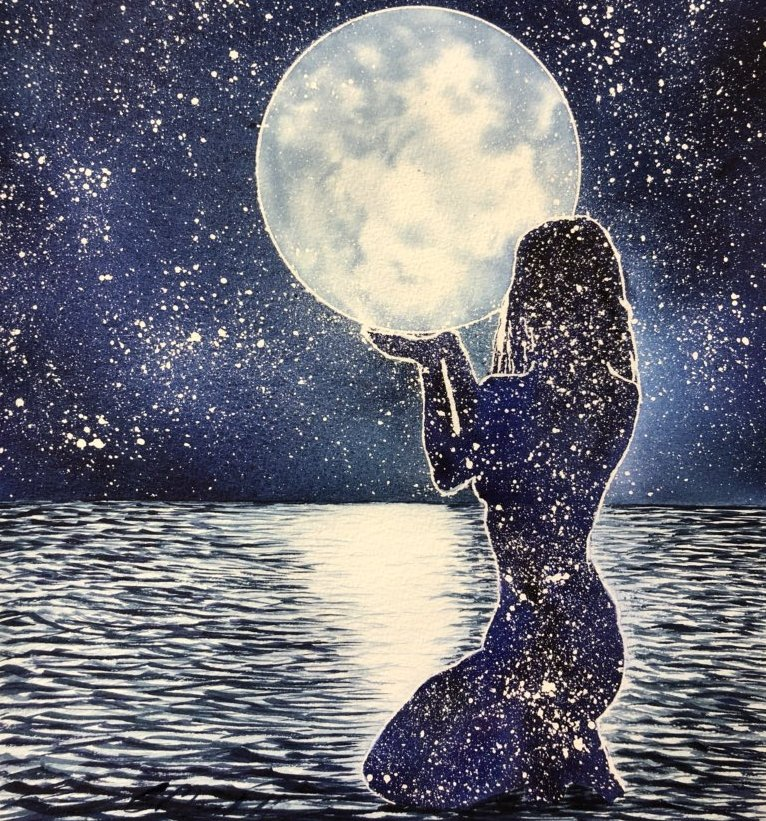Hi Everyone, I saw this painting on Twitter yesterday by @cha263 Charles Marshall, who is studying art.  It&#39;s called &#39;Reach For The Moon&#39;, I thought it was rather lovely, &amp; an empowering image &amp; message to women. Thank you Charles. #women #womenover50 #midlife #empowering #art<br>http://pic.twitter.com/TbQFrzrqme