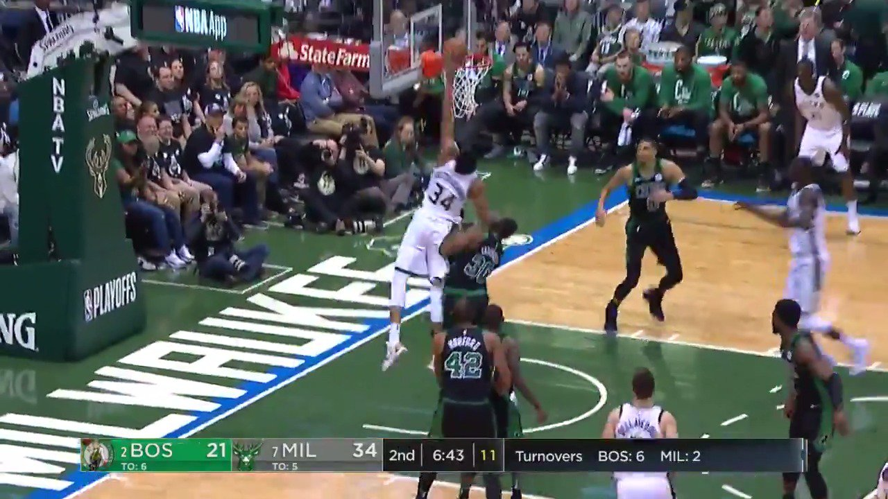 Giannis attacks from the baseline! ��  #FearTheDeer #NBAonABC https://t.co/JbYRLheNSp
