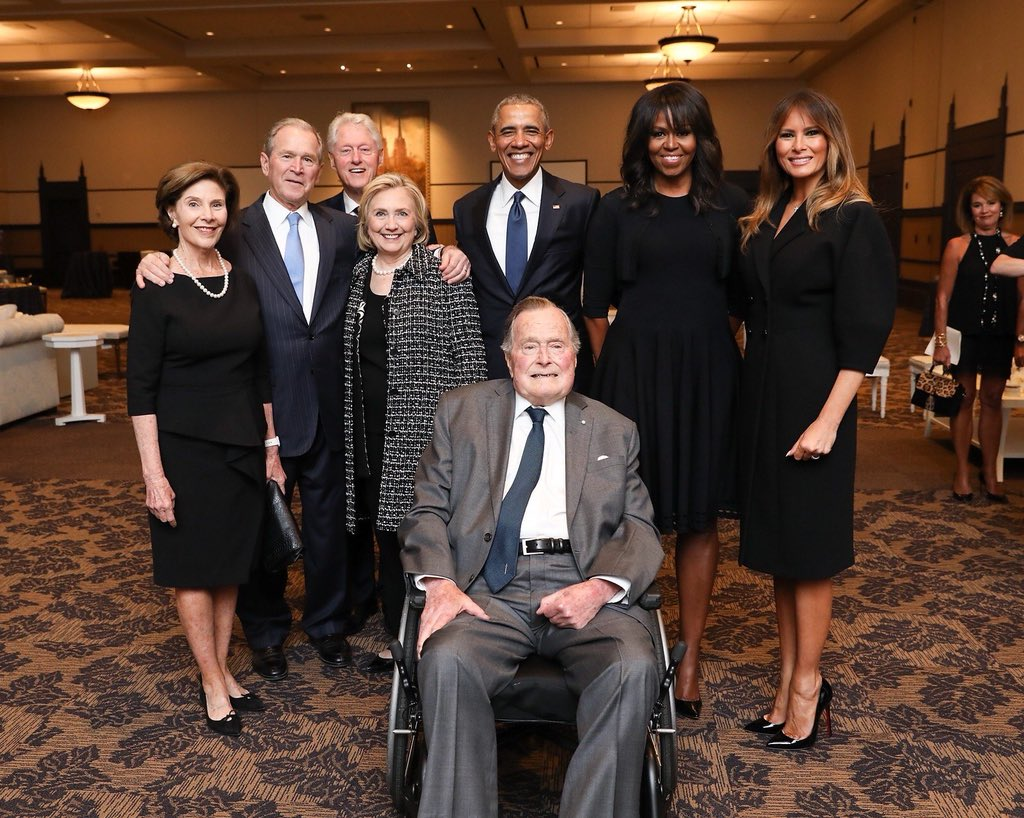 A rare gathering — The 41st, 42nd, 43rd and 44th Presidents of the United States, their spouses, and current First Lady Melania Trump photographed together at the funeral of former First Lady Barbara Bush in Texas on Saturday. (Photo via George H. W. Bush Office)