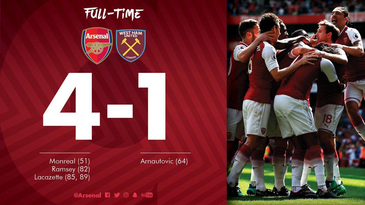 Chấm điểm kết quả Arsenal 4-1 West Ham