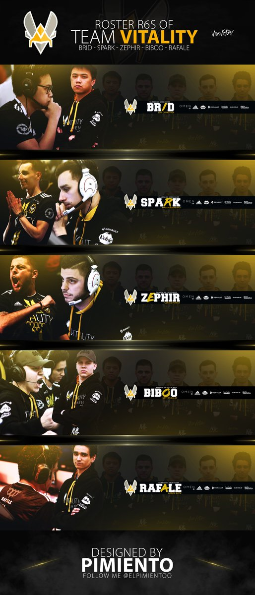 My last creation for @Team_Vitality   Designed by Me                      @RaFaLe_R6 @BiBoo_R6 @SparkR6S @ZephiR6S @BriDR6S @Heaavens @FuriouSG_  #RT and #Follow appreciate <br>http://pic.twitter.com/ppsITaduQn
