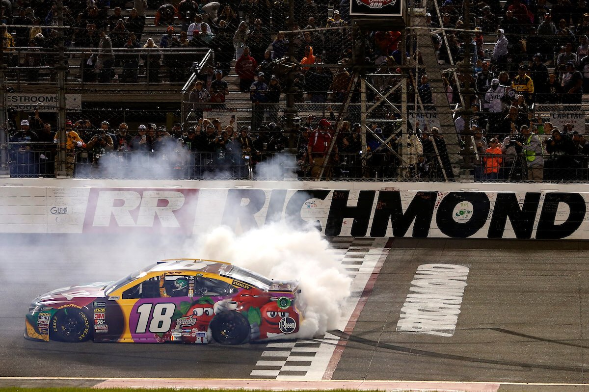 Sunday morning feeling mighty nice for @KyleBusch & @JoeGibbsRacing after making it three in a row @RichmondRaceway -#ToyotaOwners400 @ToyotaRacing
