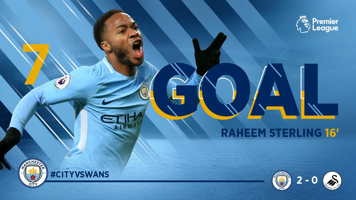 GET IN!!!!! @sterling7   🔵 2-0 ⚪️ #cityvswans #mancity