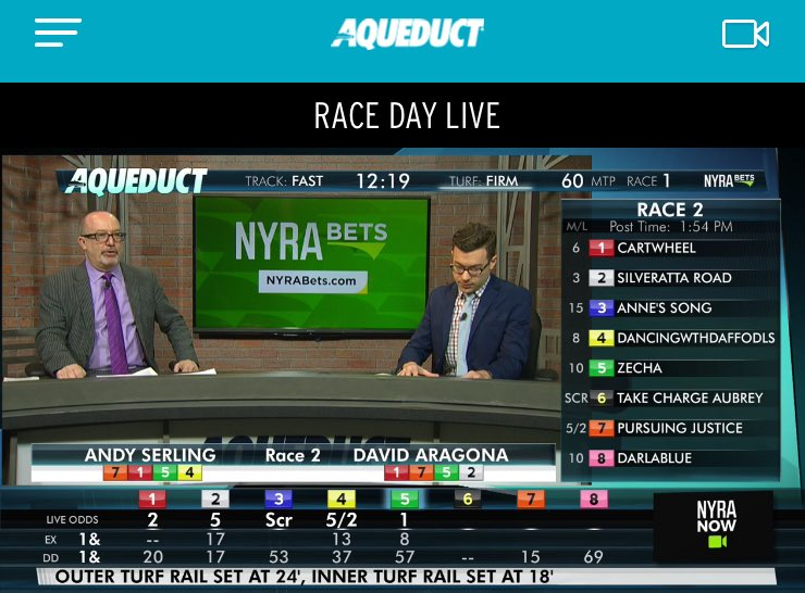 .@andyserling and @HorseToWatch are LIVE on Talking Horses presented by Runhappy 📺   Tune-in: NYRA.com Picks: bit.ly/2Aa1XRx