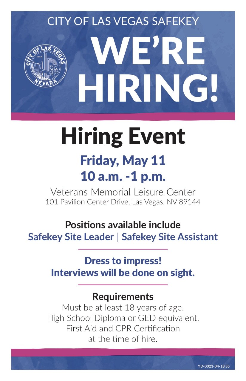 City Of Las Vegas On Twitter Were Hiring For Safekey Our Before