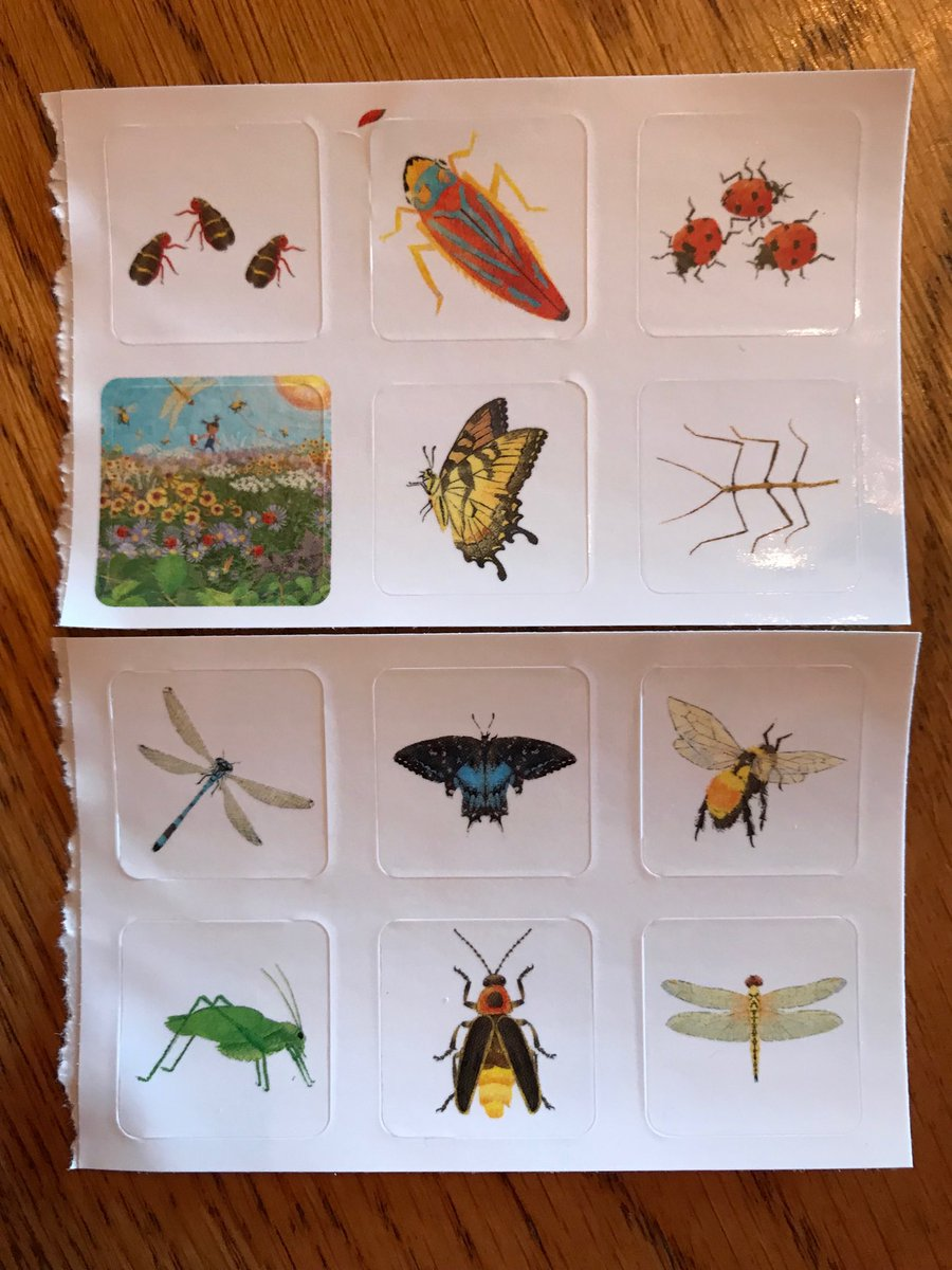 So excited! Arrived home from #NESCBWI18 and #100Bugs sticker swag greeted me. @lilmonkeydraws artwork looks beautiful in every form.@janine_omalley @MacKidsBooks #insects #bugs #EarthDay2018 #STEM #steam @staceyglick<br>http://pic.twitter.com/PZ5Lp3XHWy