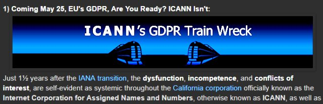 Europe&#39;s #GDPR vs ICANN #WHOIS - Why @ICANN Is Unprepared  http://www. domainmondo.com/2018/04/news-r eview-coming-may-25-eus-gdpr-are.html &nbsp; …  @EU_Justice @EU_EDPS #domains #trademarks #DomainNames #ICANN #ICANN62 #DataProtection #NetGov #privacy #data #EUGDPR<br>http://pic.twitter.com/kARNJ2fddi