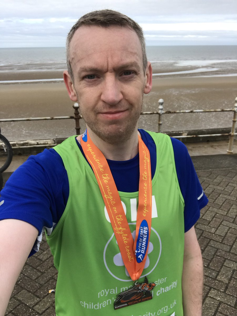 🎉NEW HALF MARATHON PB  :  1 HOUR 47 MINUTES 47 SECONDS🎉 at @fcrevents Blackpool Half Marathon.Beating my previous HM PB by 4 minutes 21 seconds.Absolutely made up!Challenge 10 raising money for @RMCHcharity & #IMOAC.  💚🏃‍♂️ #PBKLAXON @UKRunChat #UKRunChat #Blackpool