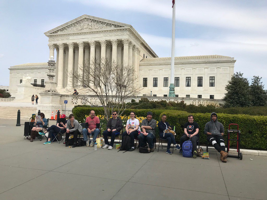 Line at SCOTUS already started for WED. Travel ban args Unlike most cases there WILL be same day audio! @lturrell16