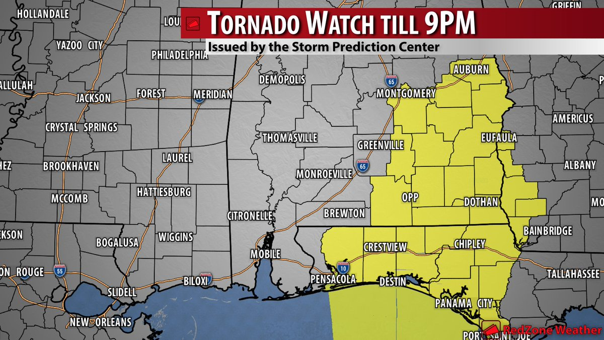 spinks megginson on twitter tornado watch for much of the florida panhandle and se alabama andalusia opp milton pace crestview destin troy elba enterprise montgomery dothan oazark eufaula phenix city included till twitter