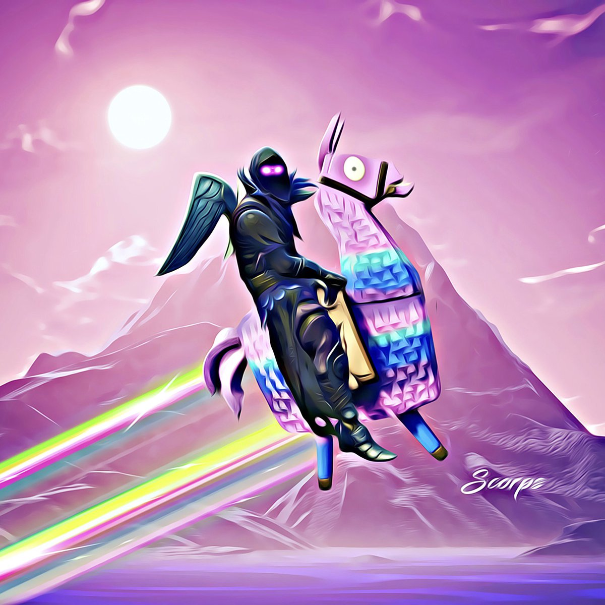 Scorps on twitter the raven ride the llama fortnitegame fortnite fortnitebr - Fortnite llama background ...