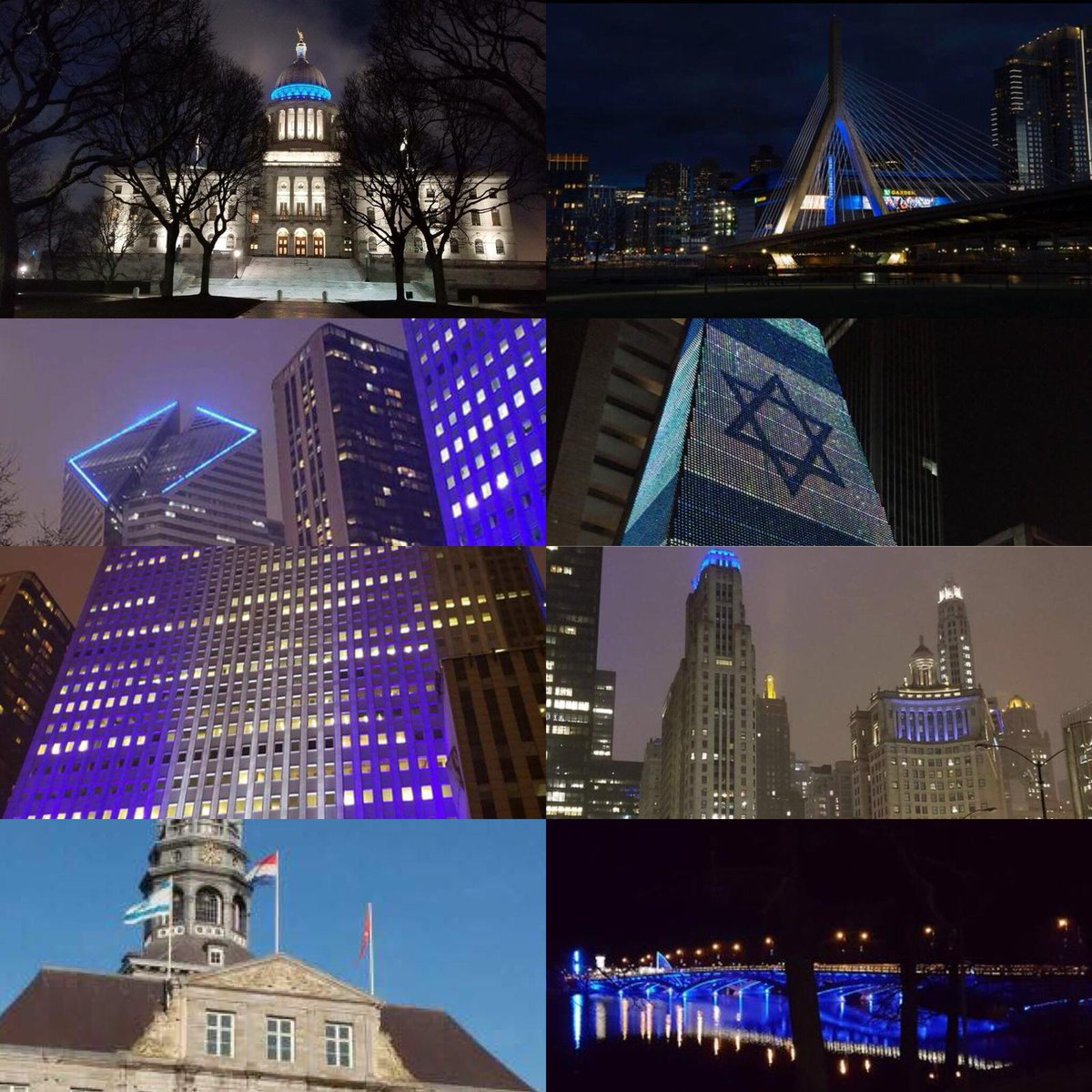 Thank you to all our friends around the world who illuminated buildings in blue and white in honor of Israel's Independence Day: Chicago, Providence, Boston, Maastricht, São Paulo, and many other places. The people of Israel appreciate your support!