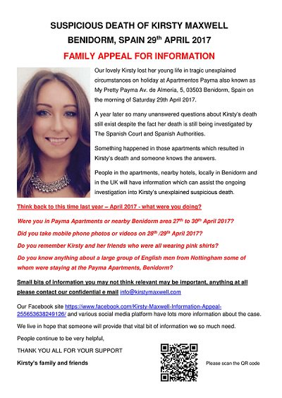 Please share #KirstyMaxwell appeal posters in different languages to reach #english #spanish #German #tourists in #Benidorm #Spain<br>http://pic.twitter.com/EQQhT6wktQ