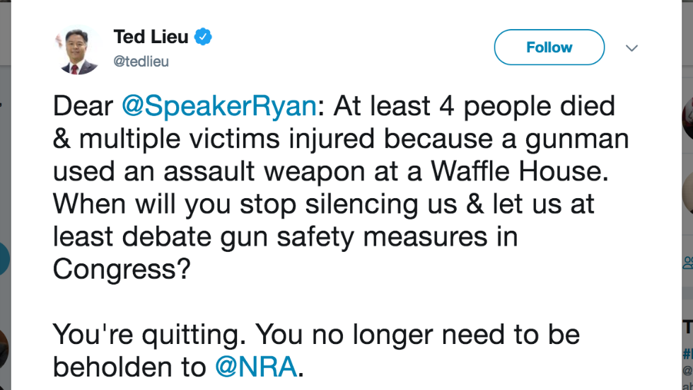 Dem lawmaker rips Ryan after Waffle House shooting: 'When will you stop silencing us?' https://t.co/WCdkakhIRq https://t.co/rJujZ11tvC