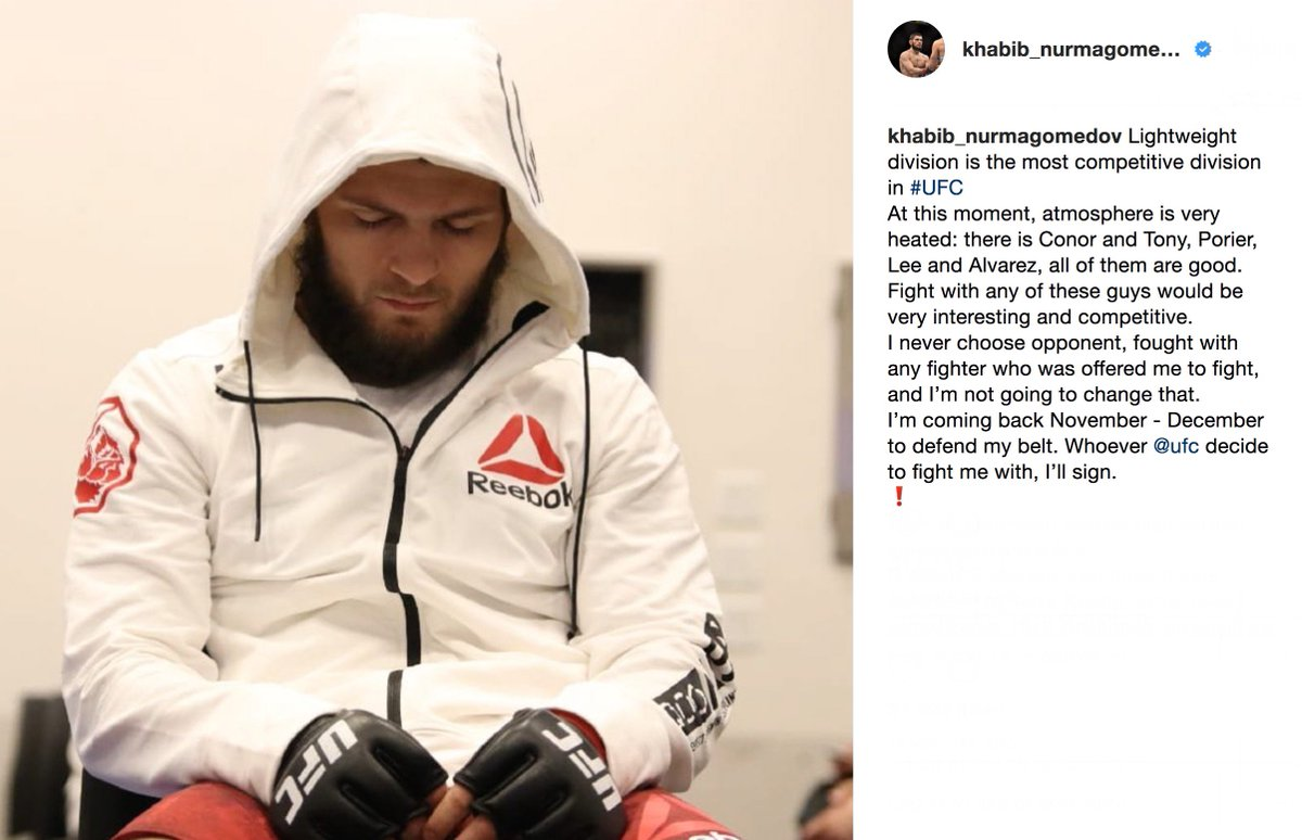 A word from the Champ. instagram.com/p/Bh4vwA6lP8g/ #UFC #MMA #KevinLee #TeamMMA4LIFE #KhabibTime #DustinPoirier #KhabibNurmagomedov #ConorMcGregor #TonyFerguson #PeoplesMMA