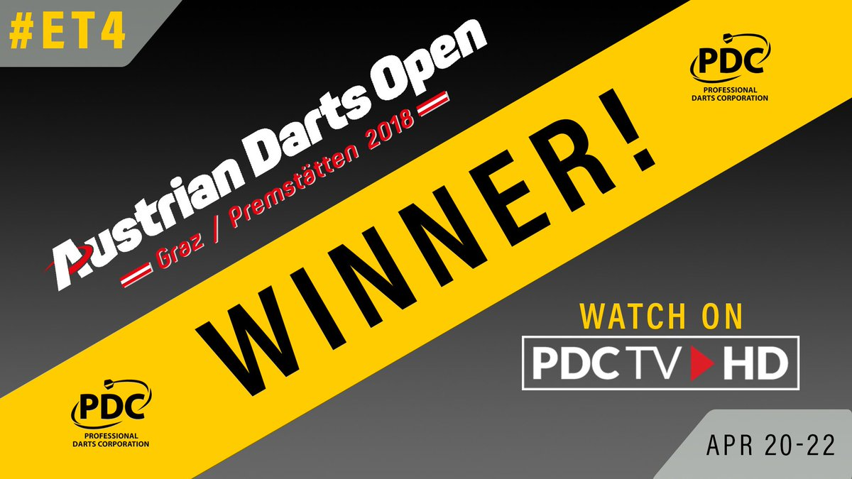 CHAMPION | Jonny Clayton wins the 2018 Austrian Darts Open title, sealing an 8-5 win over Gerwyn Price in the final in Graz!   Its a first European Tour title for the Welshman 🏆  ▶️More info: pdc.tv/news/2018/04/2…  #Darts #ET4