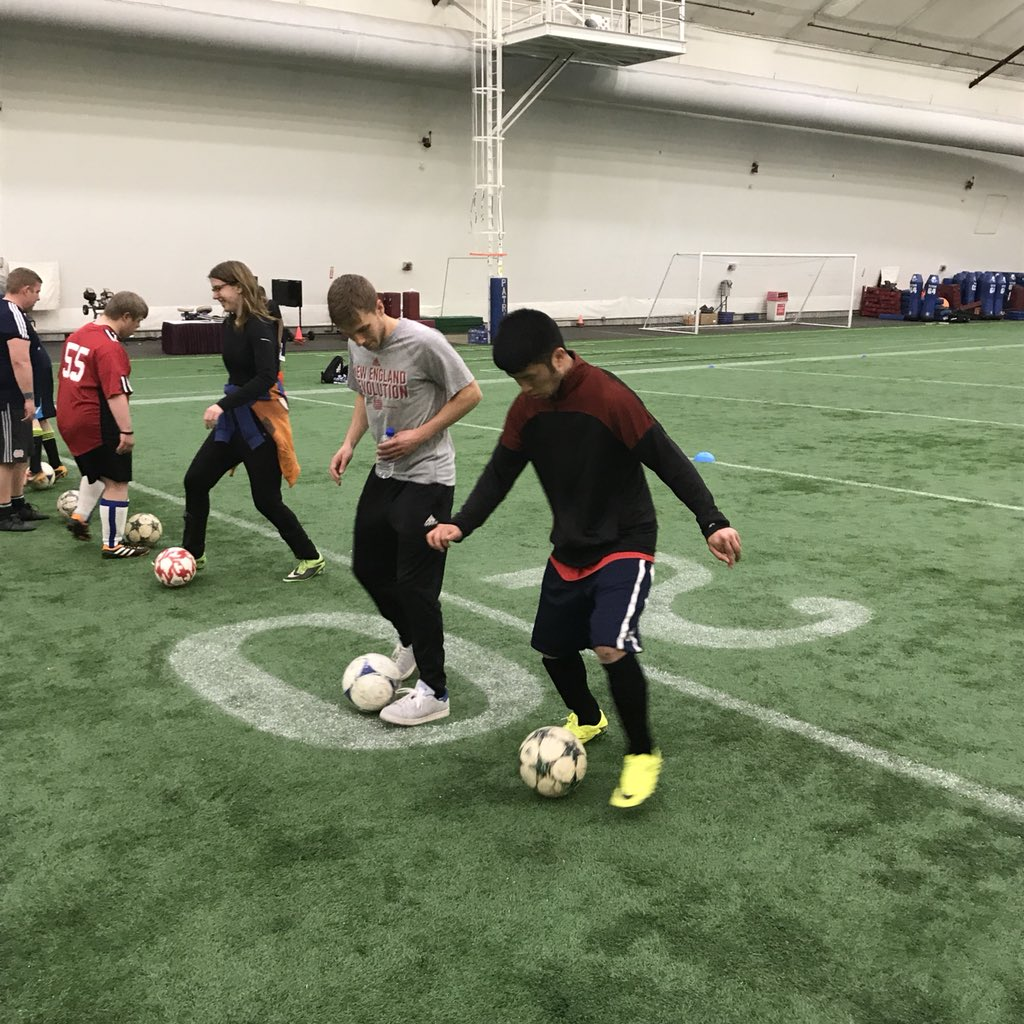#NERevs players @scaldwell15, @2Fast2Farrell and @codycropper_01 chipped in today with skills coaching at the Revs Unified Clinic in conjunction with @SpOlympicsMA #choosetoinclude @WeareNewEngland #soccerforall<br>http://pic.twitter.com/u34cTLZ7X3