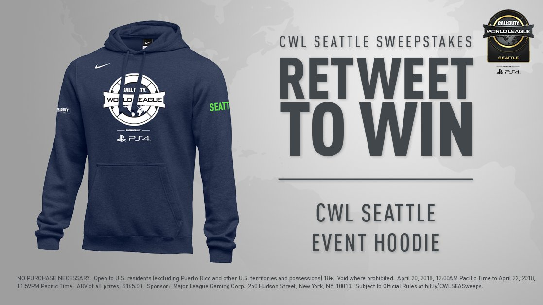 Get a win on Championship Sunday: RT for a chance at a special CWL Seattle event hoodie!  Must RT by 11:59PM PT April 22. Rules: https://t.co/iJV2pza1nZ