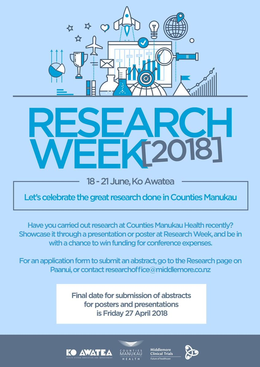 There is still time to submit an abstract for a presentation or poster for Research Week 2018! Have you recently carried out #research at Counties Manukau Health @cmdhb? Email researchoffice@middlemore.co.nz for an application form. @KA_evaluation #healthresearch <br>http://pic.twitter.com/eSlRiGTsuI