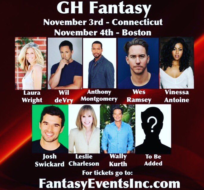 See that TBA box? Guess who's joining us in #CT and #Boston?? @GHFantasyEvents is happy to say @TamaraBraun will be joining us!! What a lineup! @lldubs @WilliamdeVry1 @MrAMontgomery @wesramsey @VinessaAntoine @josh_swickard @lesliecharleson @wallykurth @UNCLEVINNIESCC<br>http://pic.twitter.com/ejLSFzhJwc