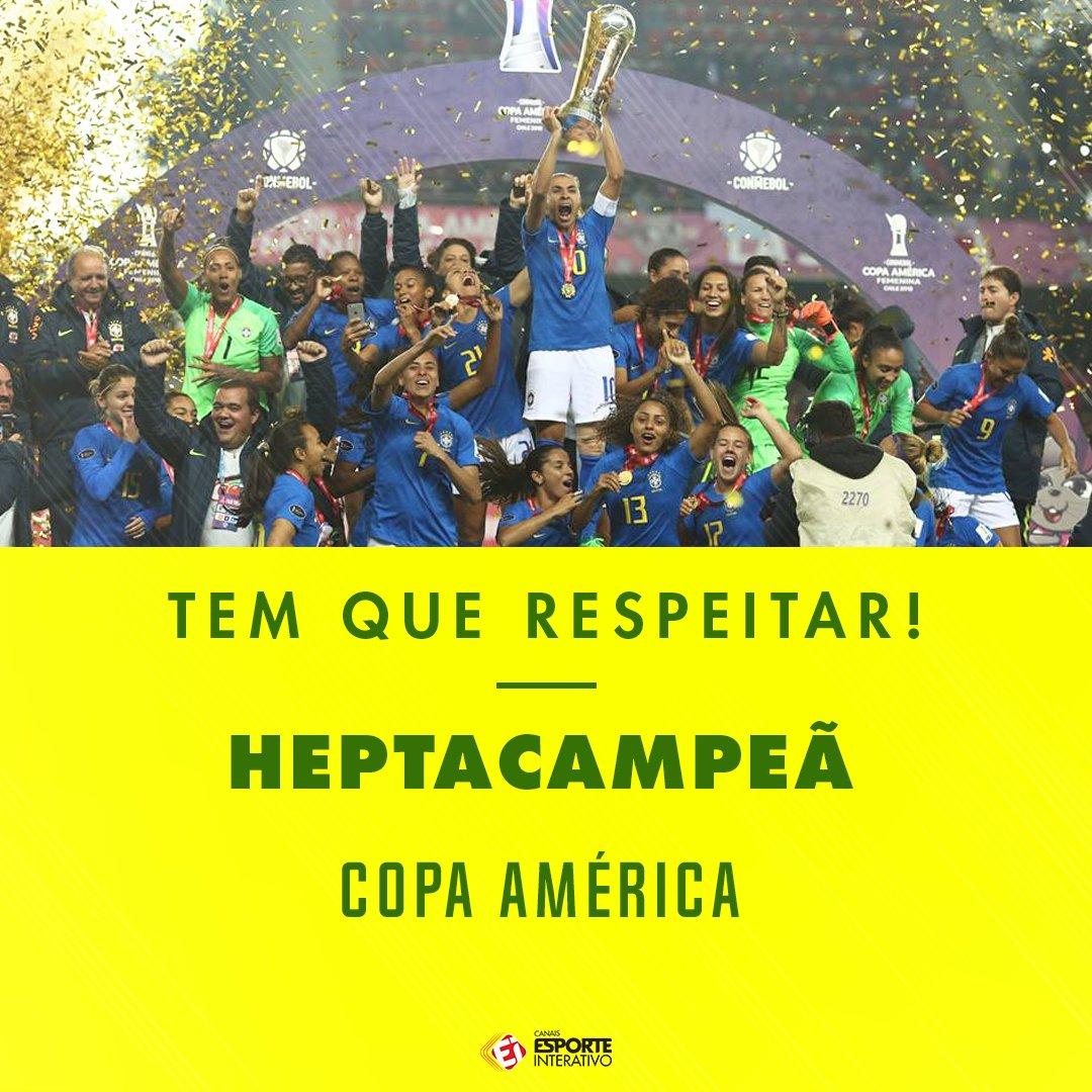 ISSO AQUI É BRASIL!  No futebol feminino, a Seleção venceu mais uma Copa América e agora é hepta!  RESPEITA!  🏆⚽🇧🇷