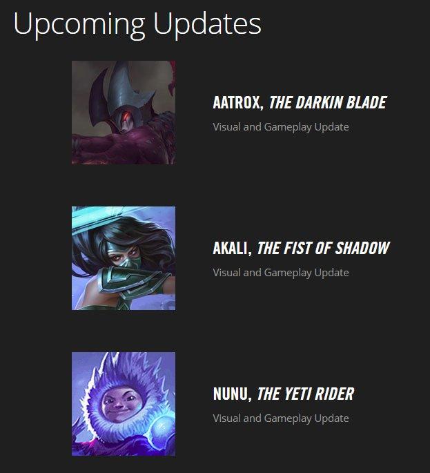 チャンピオンアップデートスケジュールにヌヌのVGUが追加されました。 Champion Update Schedule – Riot Games Support