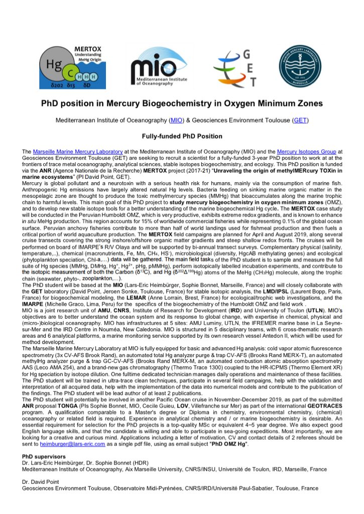 We are looking for a #curious &amp; #creative #mind!   #PhD position in #Mercury #Biogeochemistry in the #Humboldt #Upwelling Oxygen Minimum Zone at @M3lab &amp; @GET_Hg funded by the @AgenceRecherche #MERTOX project #makemercuryhistory  https://www. dropbox.com/s/32ryr3a93p14 aib/PhD%20OMZ%20Hg.pdf?dl=0 &nbsp; … <br>http://pic.twitter.com/Cly1zgYoHw
