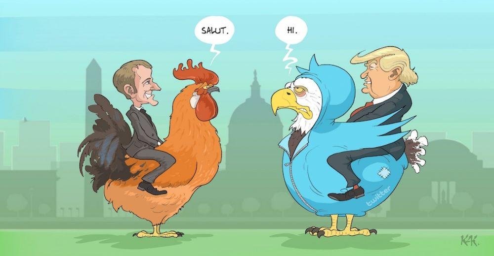 🇫🇷 Le coq Macron face à l'aigle américain rhabillé Twitter Trump (dessin KaK, l'Opinion)
