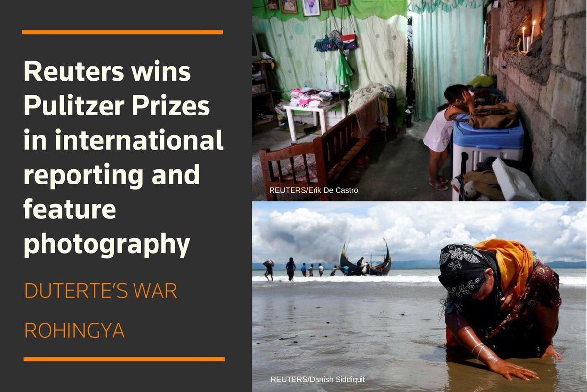 @Reuters awarded #Pulitzer Prizes for international reporting and photography - highlighting the dedicated news coverage that takes place every day - from world news to financial markets  https:// reut.rs/2Hoz9vt  &nbsp;  <br>http://pic.twitter.com/FRgzuBtZvF