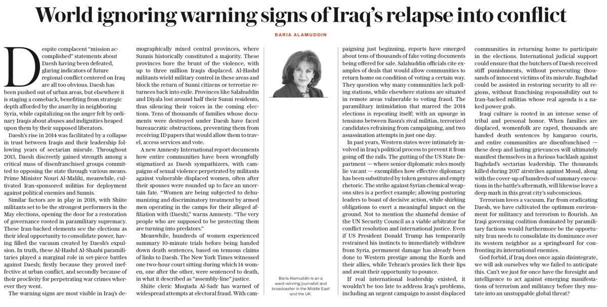 OP-ED: An #Iraqi governing coalition dominated by paramilitary factions would be the opportunity #Iran needs to consolidate its dominance over its western neighbor as a springboard for confronting its international enemies, writes Baria Alamuddin https://t.co/CEWwFJLeYl