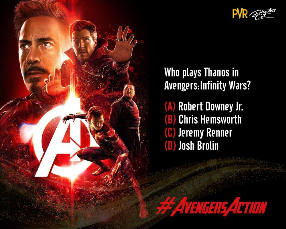 Do you know the correct answer? Tell us in the comments below!  @RobertDowneyJr @prattprattpratt @ChrisEvans  @chrishemsworth @letitiawright  #AvengersAction #Avengers #movie #Hollywood #AvengersQuiz #PVRDirectorsCut #cinema #delhi #AvengersInfinity #quiz<br>http://pic.twitter.com/T0UnRml5ZK