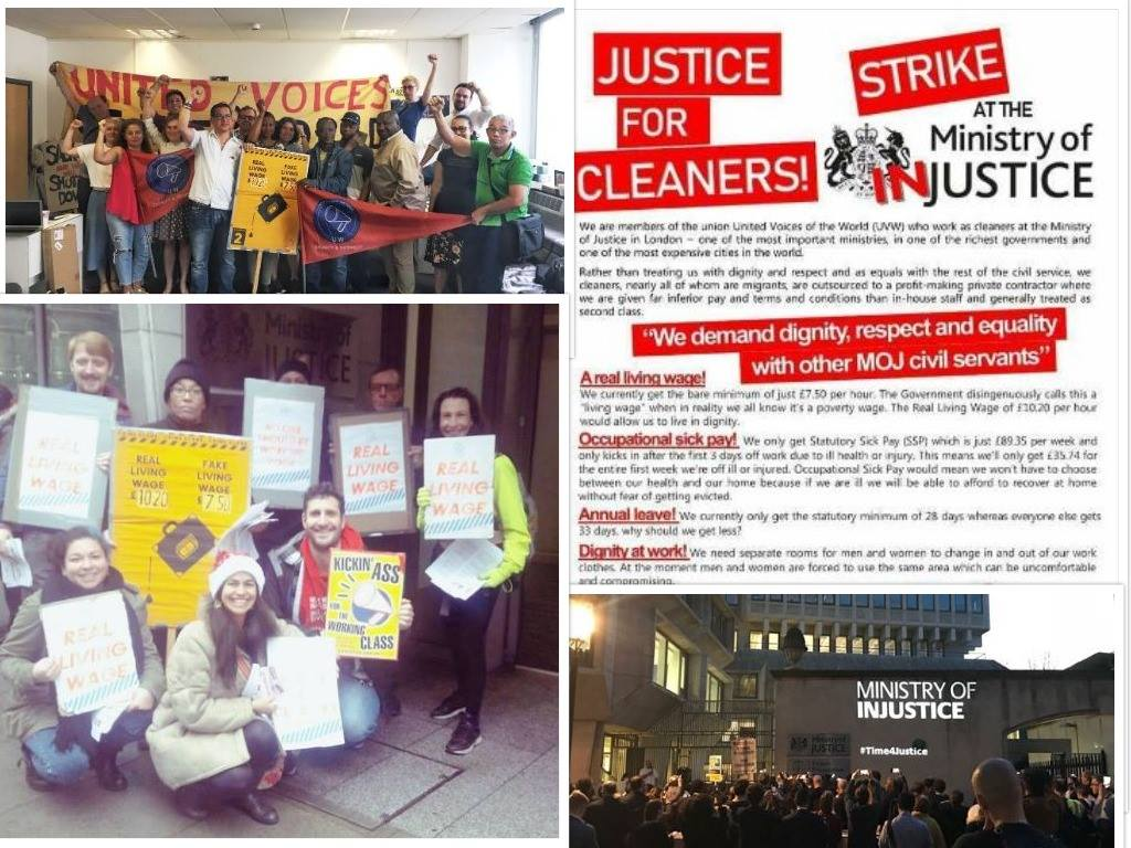 BREAKING: Cleaners are set to strike for a living wage at the Ministry of Justice! Talks have broken down between UVW and OCS, the @MoJGovUK cleaning contractor. UVW will now ballot the cleaners for strike action which could begin as early as June!