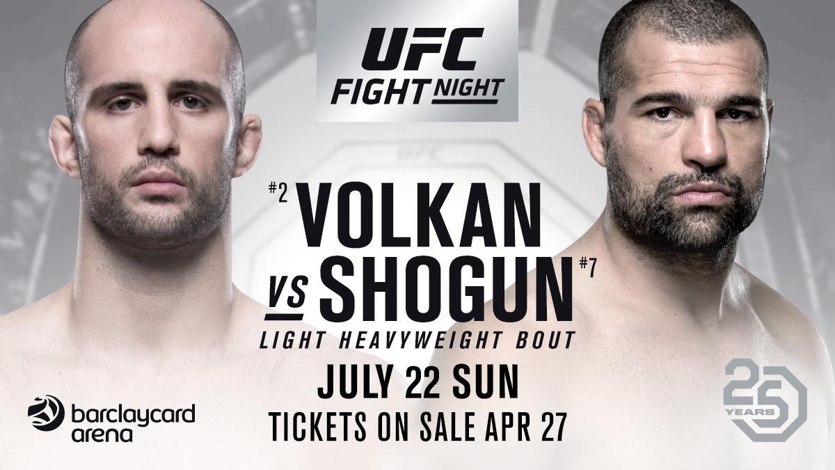 "Volkan Oezdemir vs. Mauricio ""Shogun"" Rua will now headline #UFCHamburg which takes place on Sunday July 22nd."