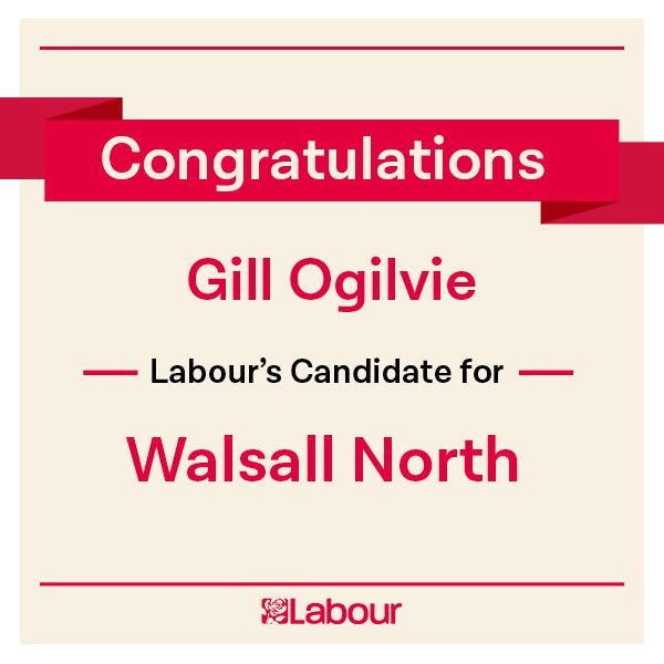 Congratulations Gill Ogilvie (@gmbgillo), Labour's candidate for Walsall North! https://t.co/eNZTBDo3Oq