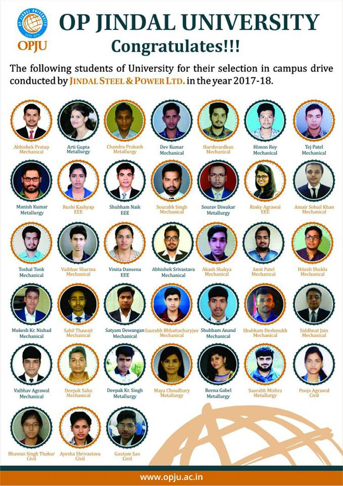 We are extremely happy to share with you that our students got selected in the campus drive by Jindal Steel &amp; Power Ltd. in the year 2017-18. Congratulations to all the selected students.  #OPJU #Jindalsteel #raigarh #placement<br>http://pic.twitter.com/M6mWLXmQdI