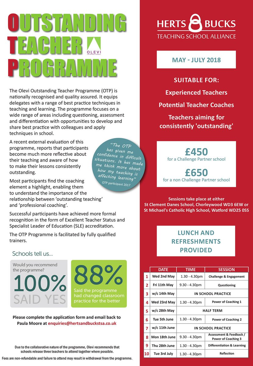 Last Chance! Only 2 places left on our Outstanding Teaching Programme (OTP)  #CPD #OTP @OLEVItalk 100% of teachers said they recommend this programme. To book email enquiries@hertsandbuckstsa.co.uk https://t.co/5Y5Bmt8iQ4