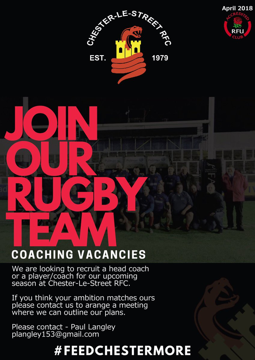 A great #Rugby #Coaching opportunity to be a part of a lovely club, who have lots of developments to look forward to.  Exciting times ahead for them, no doubt about it.  Can you help them get there? @ChesterleStree1<br>http://pic.twitter.com/ooRsgAgKmz
