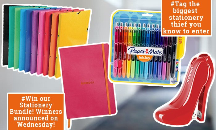 As it&#39;s #NationalStationeryWeek our #Office Monsters are hosting a #competition for all you #stationeryaddicts out there! All you have to do to enter is #Tag the biggest #stationery thief you know! You and your thieving friend will win this stationery bundle ~ UK Only! Good Luck!<br>http://pic.twitter.com/lWAarPpH7D