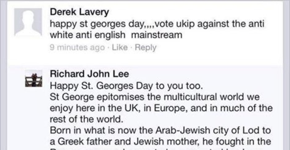 A UKIP supporter gets a perfect response on St. George's Day https://t.co/rRaBrNdADf #stgeorgesday #ukip