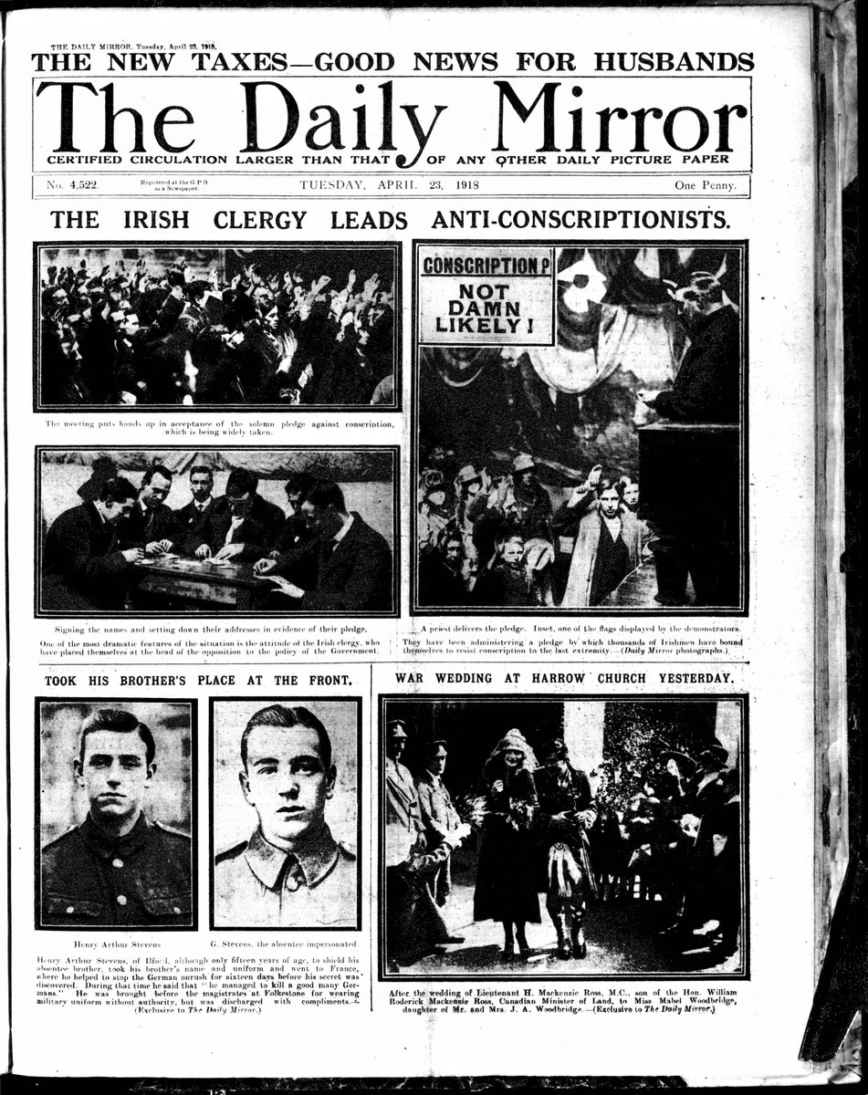 #OTD the Conscription Crisis of 1918 in Ireland: a general strike held against conscription. https://t.co/0g9zZyQo6d (Daily Mirror, 23 April 1918) #1918Newspapers #FirstWorldWar
